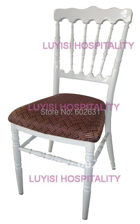 White Aluminum Napoleon Chair With Fixed Seat Cushion