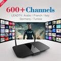 Mais novo Android Caixa De TV com 600 Canais de Iptv Livre para Árabe Europa Itália Quad Core 1G/8G 2.4 Ghz WiFi H. 265 Inteligente Media Player