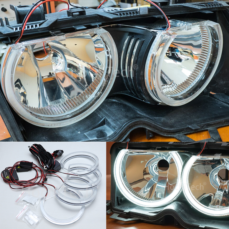 HochiTech Ultra bright White Crystal DTM Style LED Angel Eyes kits Halo Rings Light 131mm*4 For BMW E36 E38 E39 E46
