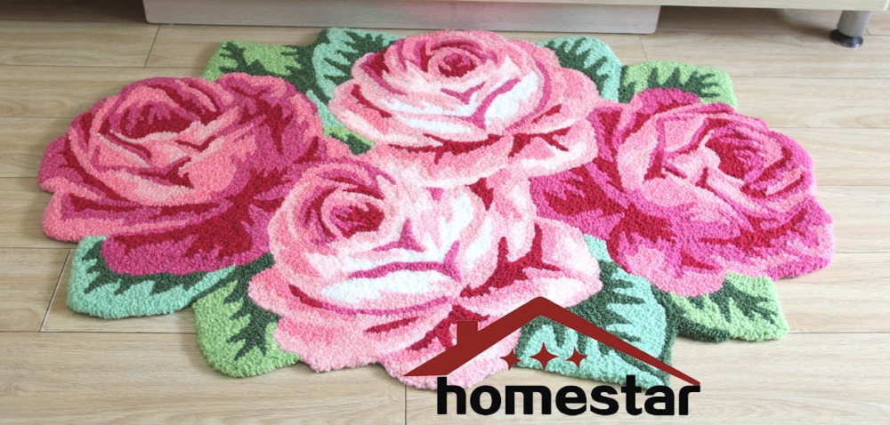 Embroidery Carpet Fl Roses Flower Pink Bedroom Rugs Runner Decorative Floor Mat Area Bedside Doormat In From Home Garden On