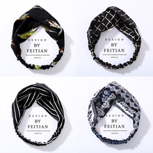 цена на Fashion Turban Twist Cross Hairband Headwrap Girl Chiffon Headband Women Hair Accessories Floral Striped Knot Hair Band Headwear