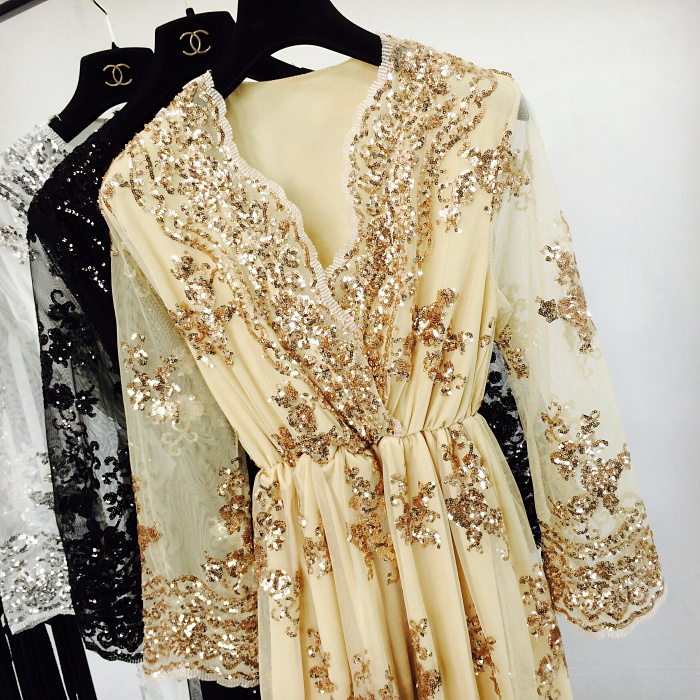 Spring Summer Sexy V-neck Embroidery Squined Bling Bling Party Dress Women Medium Long Stylish Dress 4