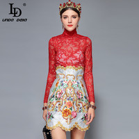 LD LINDA DELLA Fashion Runway Women's Skirts 2 Two Pieces Sets Sexy Red Lace Top + Vintage Floral Embroidery Skirts Sets Suits