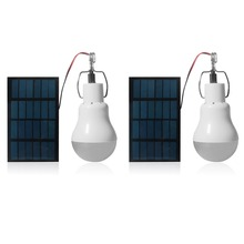 2pcs Portable LED Solar Light 15W 130lm Powered Energy Lamp 5V Bulb for Outdoors Camping Tent
