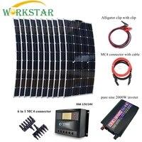 10 шт. 100 Вт панели солнечные с пиком 2000 инвертор и 30A контроллер 1000 солнечный Мощность Syetem комплект гибкий солнечный модуль зарядное устройст