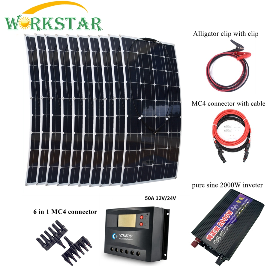 10pcs 100W Solar Panel with Peak 2000W Inverter and 30A Controller 1000W Solar Power Syetem Kit Flexible Solar Module Charger 4pcs 100w flexible solar panel with mppt 30a controller and mc4 y connectors for 12v battery solar charger houseuse solar kit