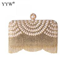 Tassel Fashion Women Pearl Beaded Clutches Bag Crystal Party Wedding Evening Bag Bridal Gold Silver Banquet Clutch Purse Handbag недорого