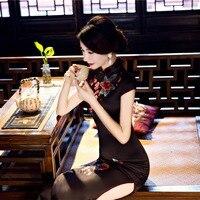 Długo Pani Elegancki Krótki Rękaw Stójka Qipao Tradycyjny damskie chiński Sukienka Cheongsam Plus Rozmiar M L XL XXL 3XL TX036