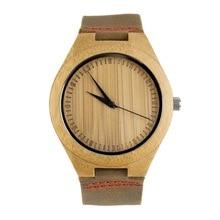 OUTAD hombres Moda Relojes Banda de Cuero Genuino Reloj de Madera de Bambú
