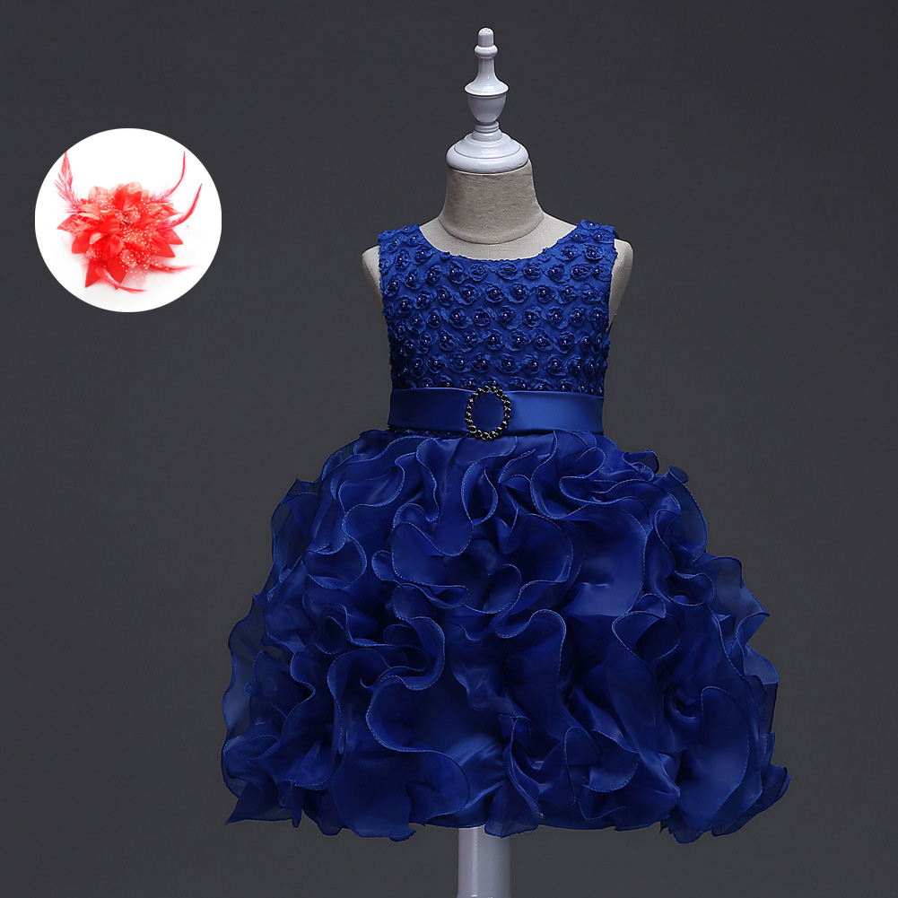 2017 Girls Toddler Fashion Infant Party Clothing Red Pink White Rhinestone Communion Evening Gown Baby Girl Blue Flower Dress
