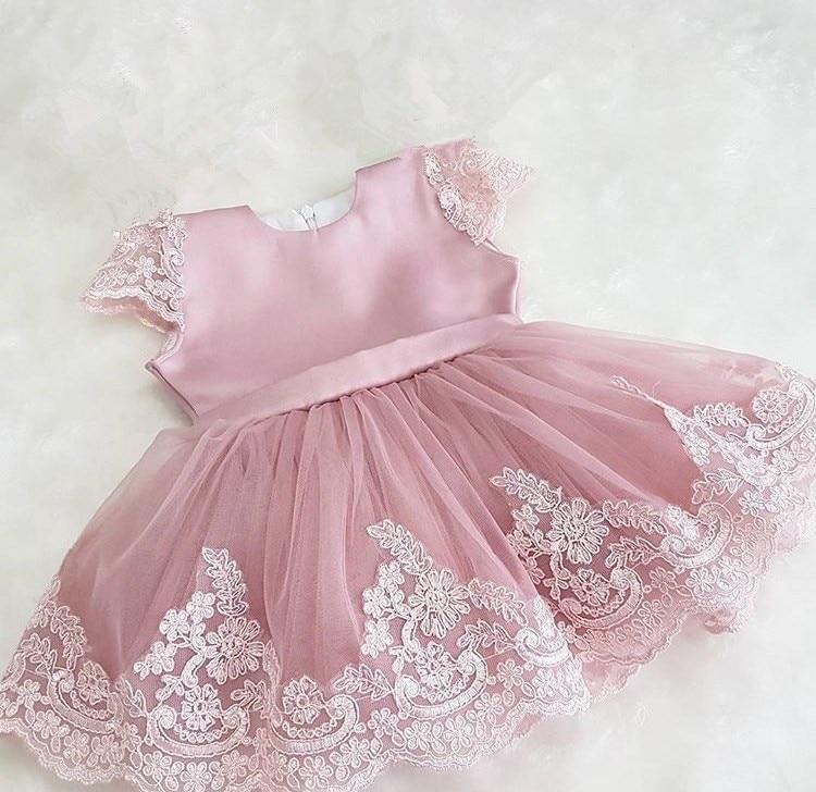 Infant Baptism flower Girl Dresses Children Dress Big Bow Party Summer Princess Baby Girl Wedding 1