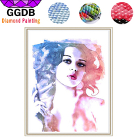 GGDB 5D DIY Diamond Painting Abstract Canvas Fashion Art Portrait Beautiful Girl Wall Picture For Living