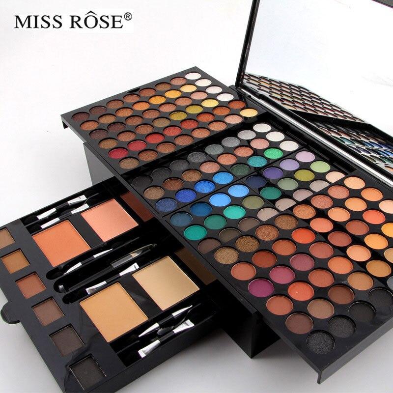 180 couleurs mat nude shimmer fard à paupières palette maquillage ensemble avec la brosse miroir Rétractable professionnel cas Cosmétique maquillage kit