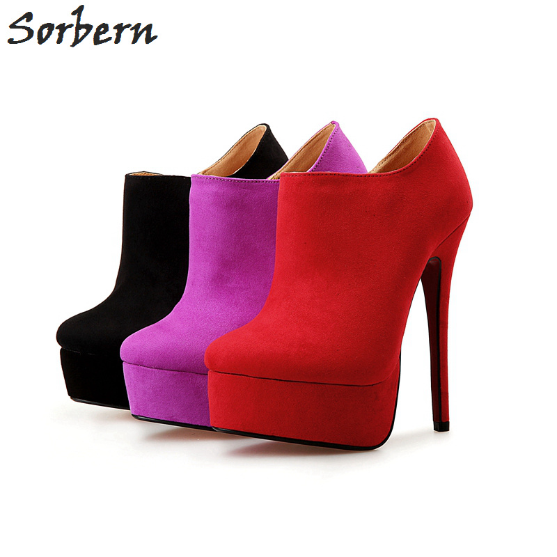 Sorbern Fashion Size 40-48 Faux Suede Round Toe Platform Winter Boots High Heels Ankle Boots For Women Shoes Woman Botas Mujer