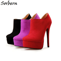 Sorbern Fashion Size 40 48 Faux Suede Round Toe Platform Winter Boots High Heels Ankle Boots