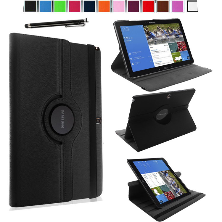 Magnetic 360 Rotating Smart Stand Cover Case for Samsung Galaxy Tab Pro / Note Pro 12.2 SM-P905/ P900 W/ Film & Stylus (Black)