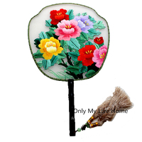 Exquisite Chinese Ethnic Vintage Hand Fan Wedding Gift Fan Handmade Double Embroidery Mulberry Silk Hand Held Fan Decorative