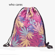 Who Cares New Trend 3D Printing Backpack Women Pink Weed Drawstring Bag Classic Casual Mochila Feminina Girl