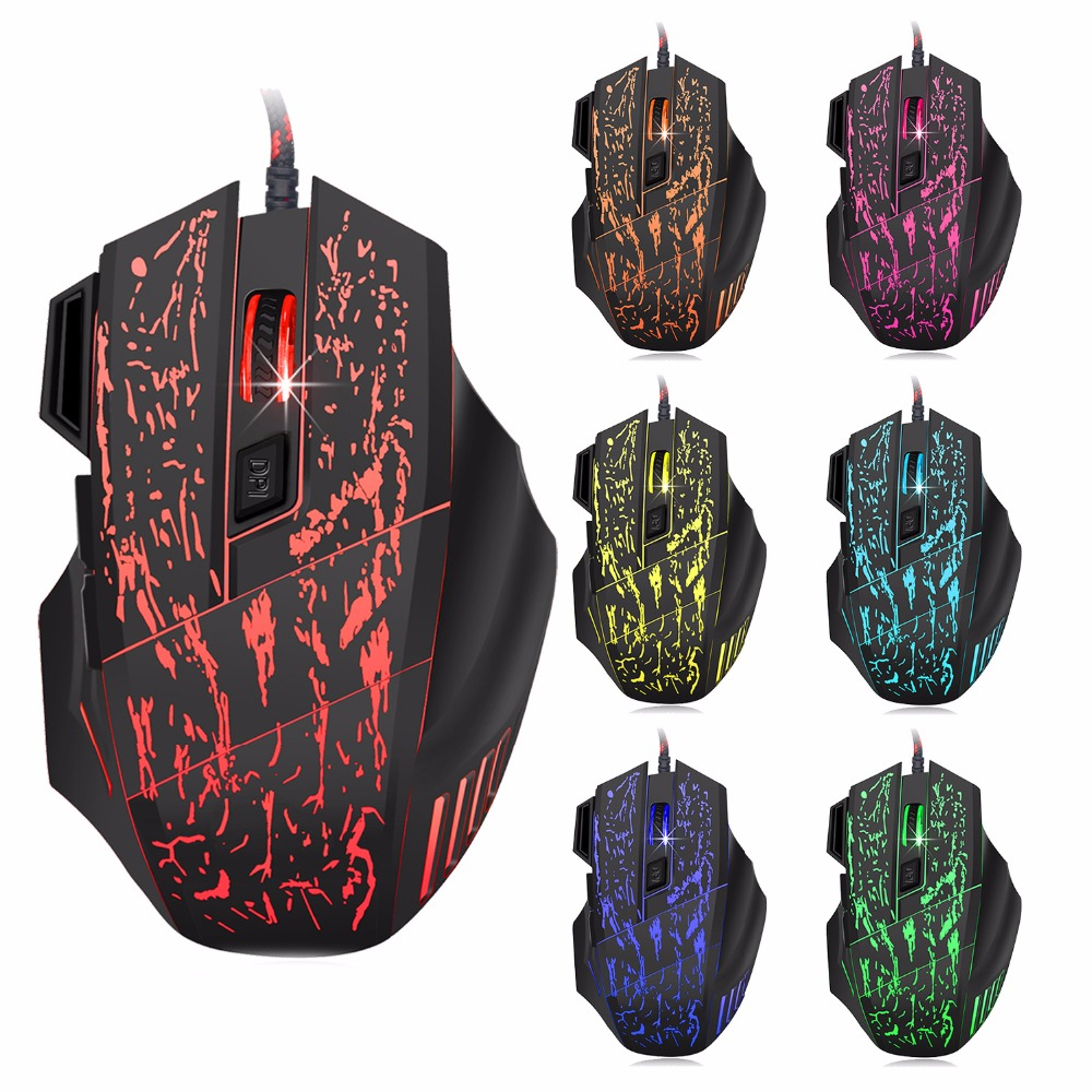 Darshion S8 Optisk bakgrunnsbelyst Wired Gaming Mouse 7 Button LED Optisk USB Computer Mouse Mus 3600DPI Colorful Pust Light