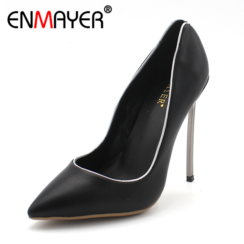 ENMAYER Summer Women Pumps Extreme High Heels Pointed Toe Women Party Shoes Slip On Sexy Comfortable Shallow Plus Size 34-43 2016 summer high heels16cm sexy waterproof 4cm party women s shoes plus size factory outlet real picture