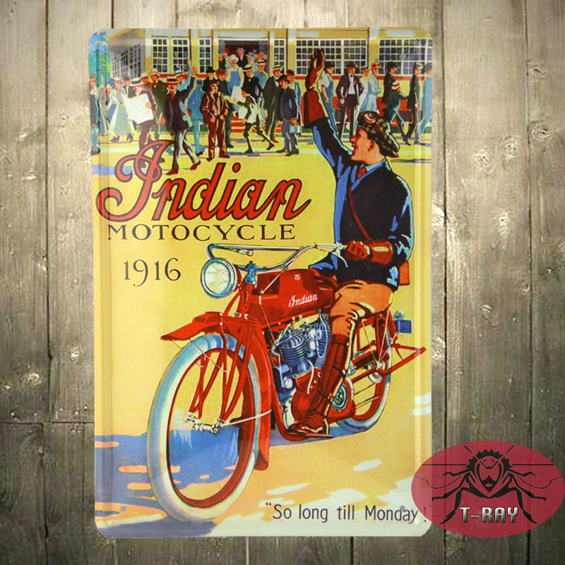 Motorcycle <font><b>1916</b></font> so long till monday <font><b>all</b></font> guys after working Metal Tin Signs Poster Wall Decor C-21