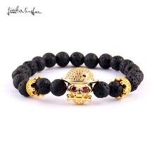 WML Luxury CZ Red zircon Punk Rock skull crown Charm 8mm lava bead men skeleton bracelets & bangles for women Jewelry недорого