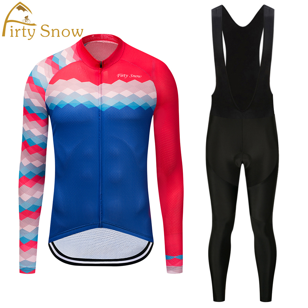Firty Snow 2018 High Quality Newest Pro Fabric Cycling Jerseys Wear Long Sleeves Set Bike Clothing Pants Red blue
