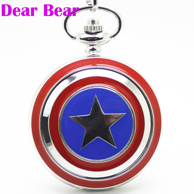 (1062) Captain America Shield Pocket Watch Necklace, Dia 4.7.cm