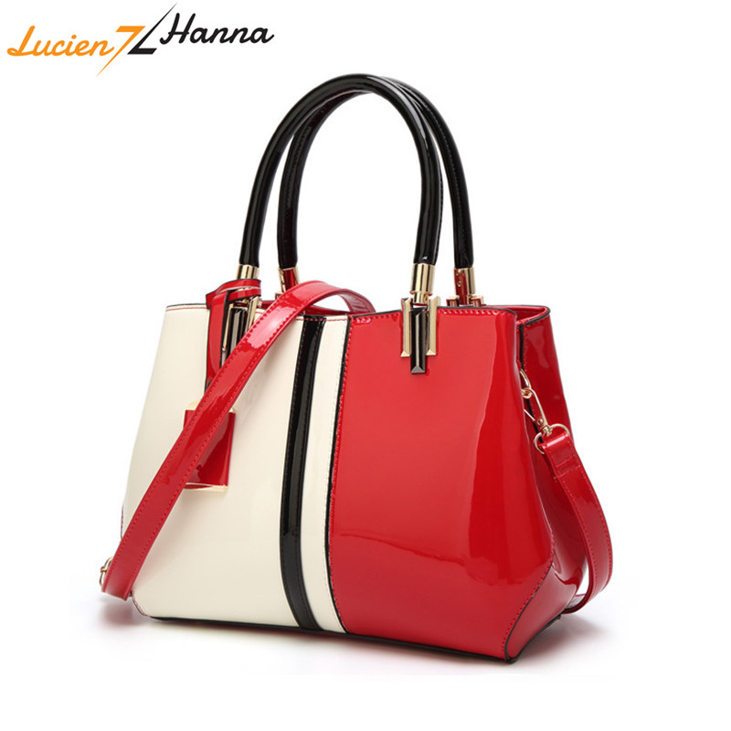 2018 Fashion Women Handbags Patent Leather Glossy Ladies Elegant Handbag Shoulder Messenger Bag Female Evening Totes Top Quality elegant top handle handbags female new designer pu leather evening bag 2017 fashion high grade exquisite embroidered women totes
