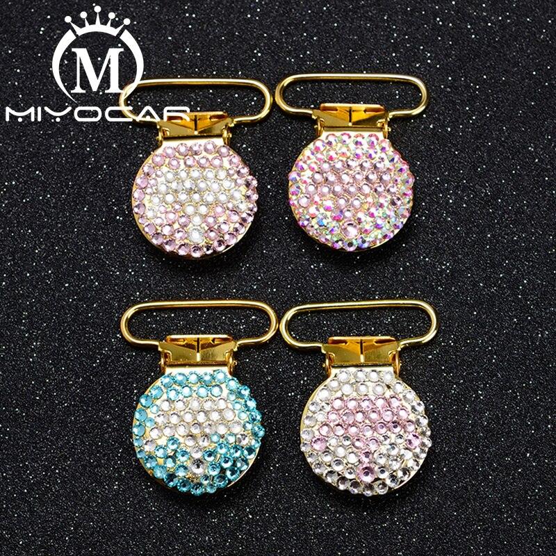 miyocar 10 pcs por lote projeto especial bling crown forma redonda ouro clipe chupeta chupeta titular