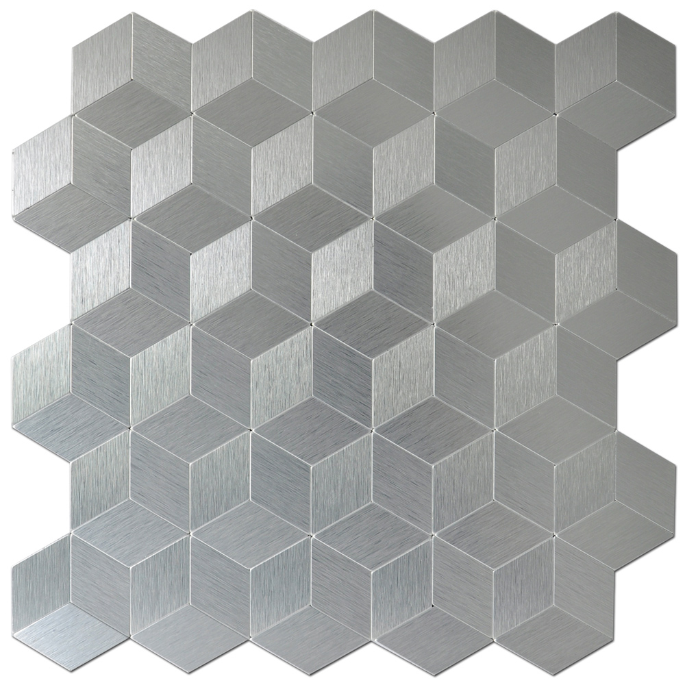 10 Sheets Peel And Stick Metal Mosaic Decorative Wall Tile