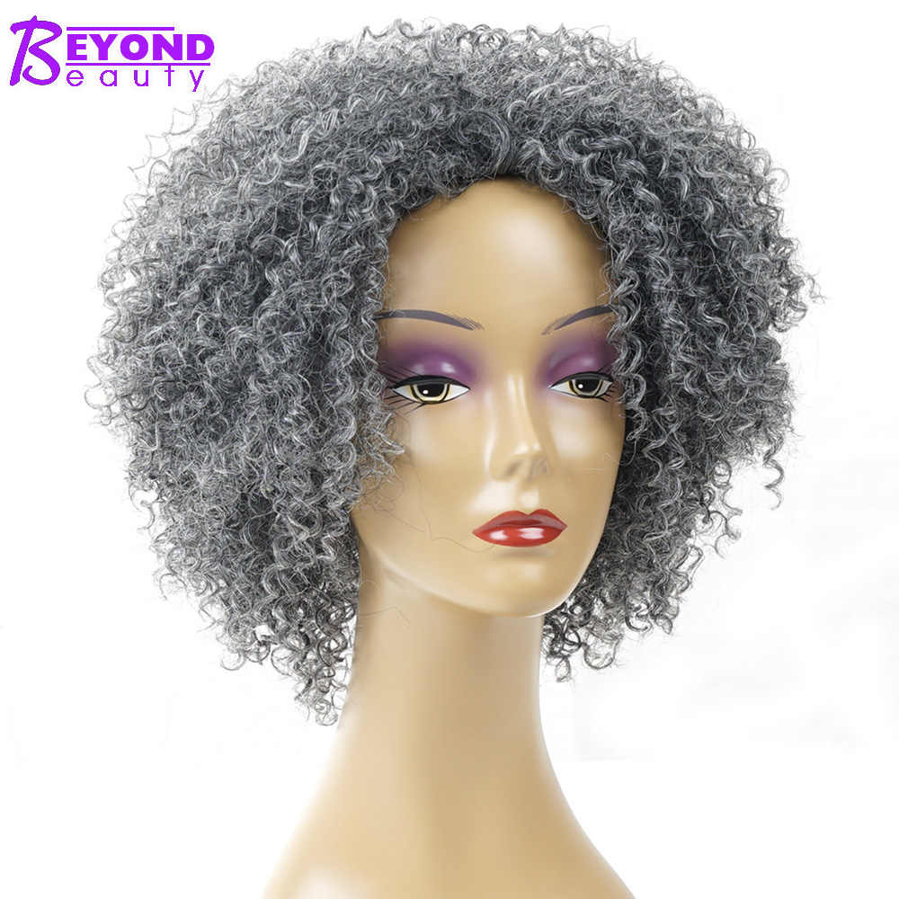 Pelucas rizadas Afro gris corto sintético para mujeres negro plateado africano americano Natural pelo falso gris Bob peluca Beyond Beauty