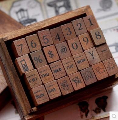 28 Digital Weather Cursive Digital English Stamp Wooden Alphabet Digital Letters Seal Set Standardized Stamps Seal DIY Seal