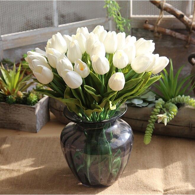 Flower Marriage Decor VSN PU Tulips Artificial Home Wedding Decoration Bouquet Bridal 1/5 Pc D20