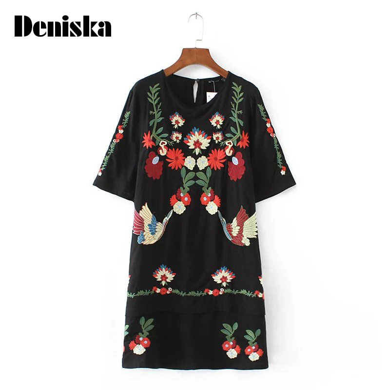 DENISKA Brand Floral Ethnic Embroidery Women Dresses O Neck Short Sleeve Summer Dress Straight Black Short