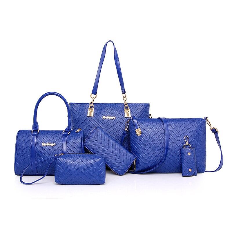 New Brand Luxury Lady Handbag 6 Pcs Set Composite Bags Set Women