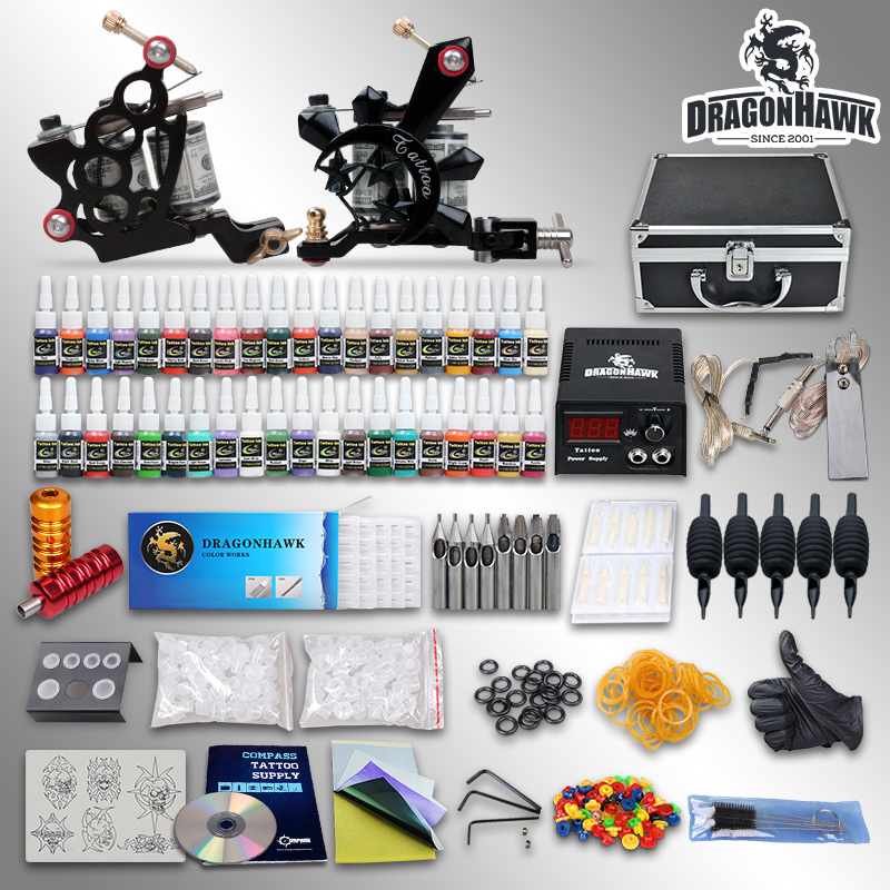Complete tattoo kit 2 machine gun set 40 color ink 10 24gd for Where to get tattoo supplies
