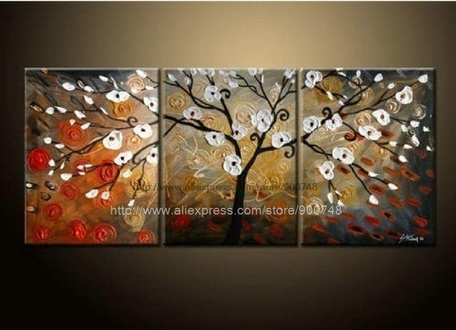 Modern Abstract Flower Wall Art On Canvas Oil Painting Abstract Wall ...