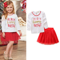 New Years Baby Girls Long Sleeve Printed Merry Happy Bright T Shirt Red Tutu Skirt Set