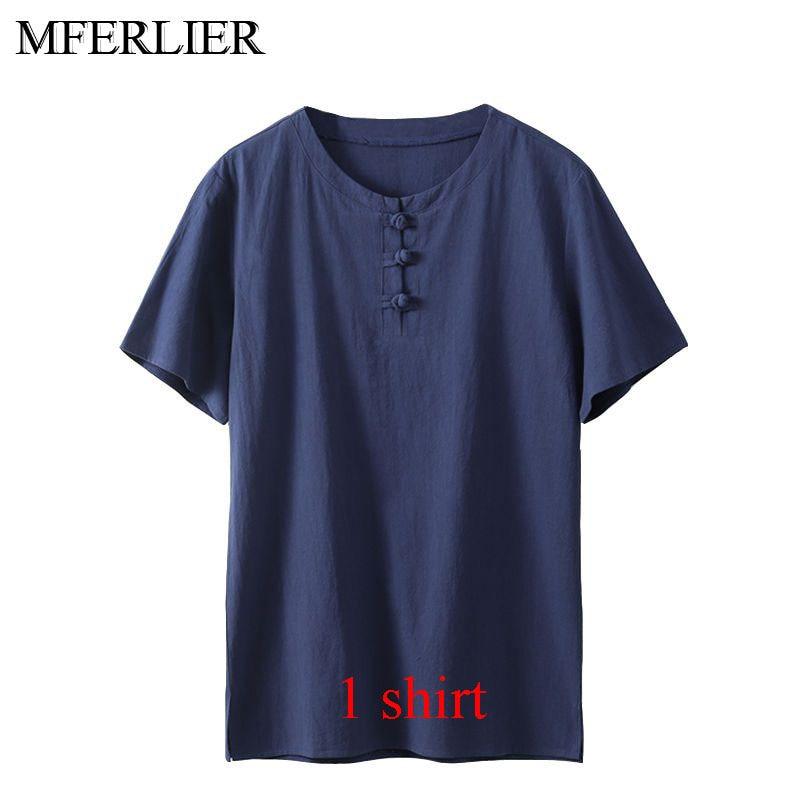 MFERLIER Summer men shirt 5XL 6XL 7XL 8XL 9XL 10XL Bust 157-162cm plus size linen large size shirt with shorts men 5 colors 11