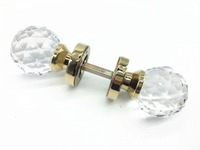 UNILOCKS Clear Zinc Alloy Gold Plated Solid Crystal Double Handles