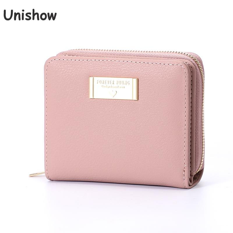 Unishow Multifuncation Wallet Women Small Zipper Women Purse Short Brand Designer Coin Purse Mini Ladies Wallet Girl Card Purse