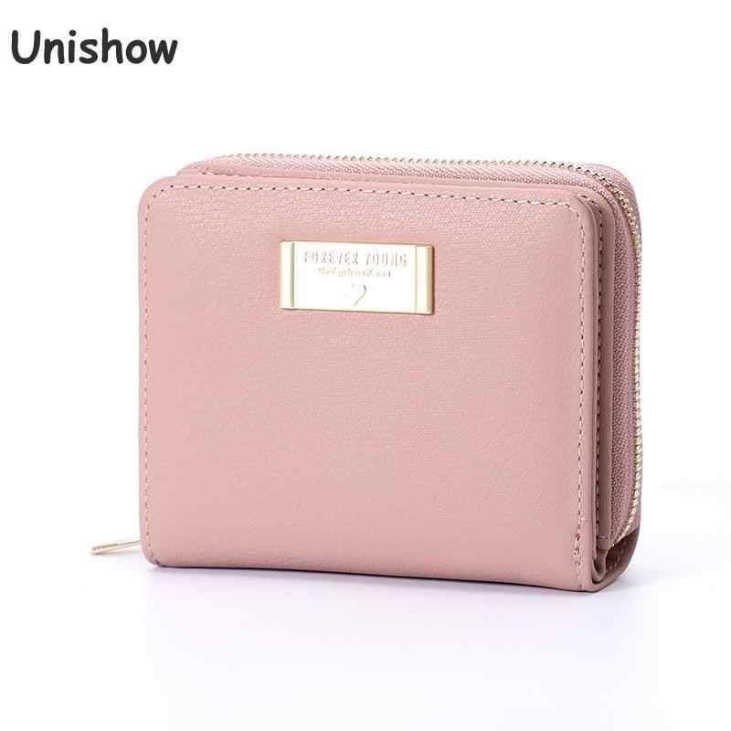 Unishow multifuncation carteira feminina pequeno zíper bolsa feminina marca curta designer bolsa de moedas mini senhoras carteira menina cartão