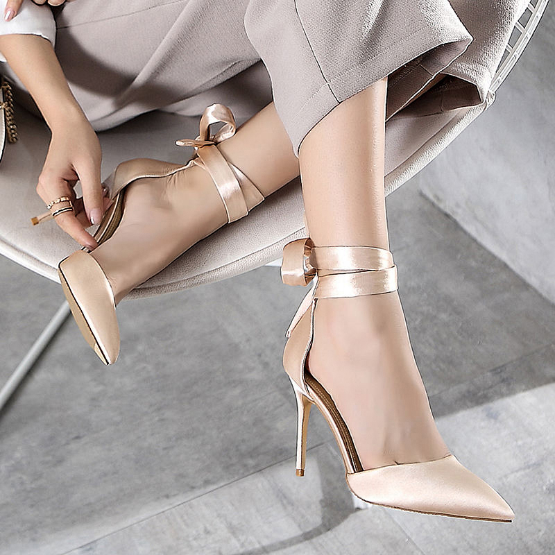 Stylish Silk Ladies Shoes Ankle Strap Female+Shoes Sexy Pointy Toe 10cm Women Pumps Strappy Heels Celebrity Party Wedding Shoes