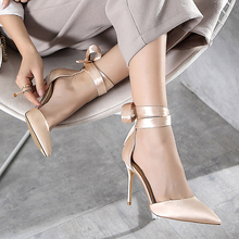 Stylish Silk Ladies Shoes Ankle Strap female+shoes Sexy Pointy Toe 10cm Women Pumps Strappy Heels Celebrity Party Wedding