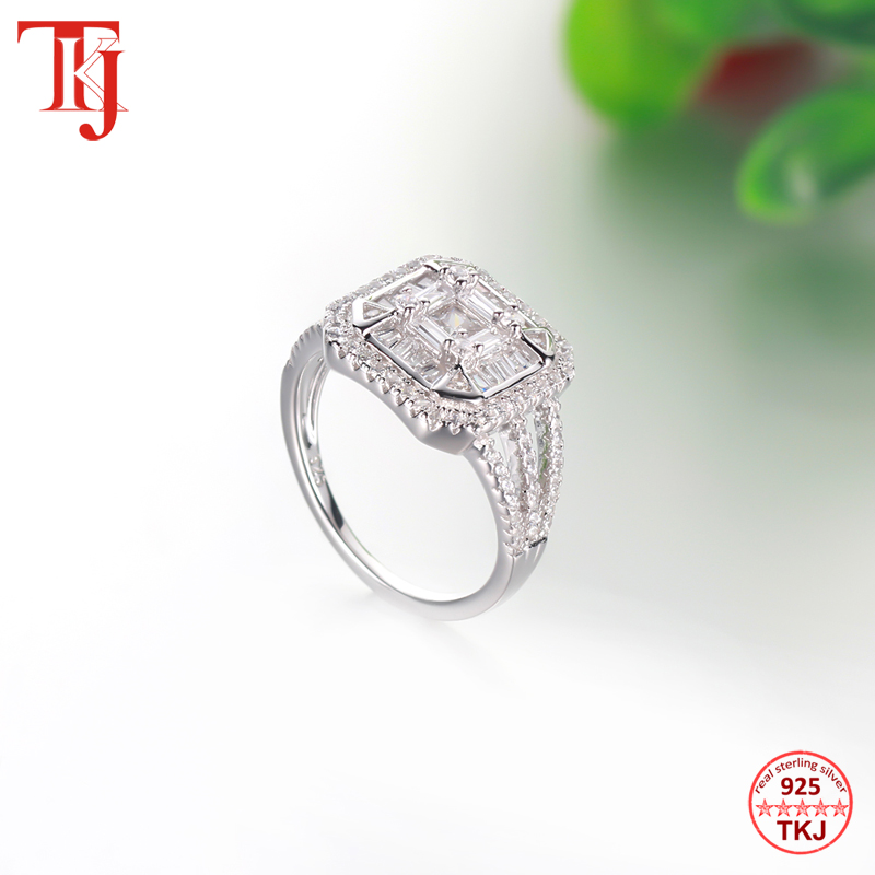 TKJ Genuine 925 Sterling Silver Engagement Ring CZ Zircon Wedding Band Rings For Women Bridal Party Anniversary Jewelry Gift
