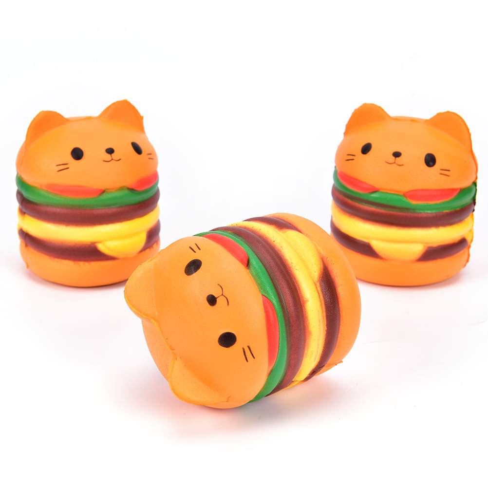 Collection Simulation Kawaii Cat Burger Slow Rising Reliever Healing Antistrss Cat Hamburger Stress Relief Soft Phone Straps Toy
