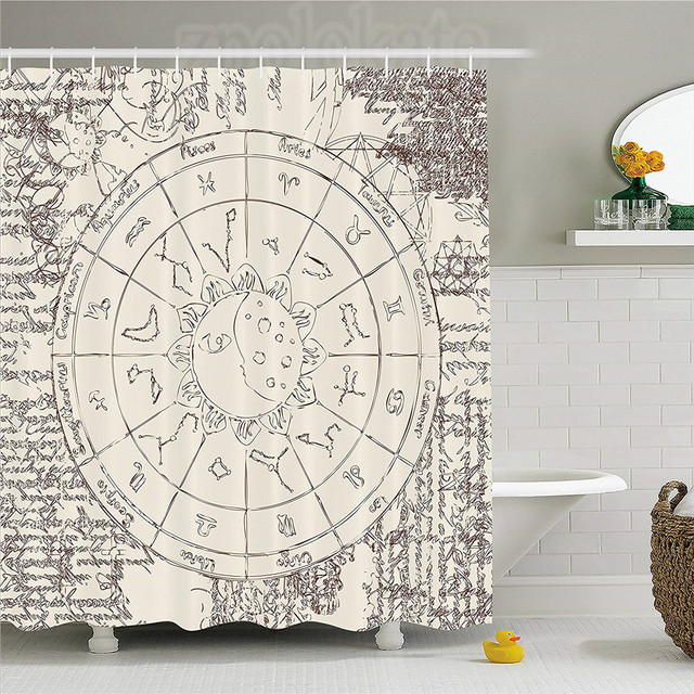 Sun And Moon Shower Curtain Ancient Papyrus Image Zodiac With Constellations Horoscopes Symbols Fabric Bathroom Decor