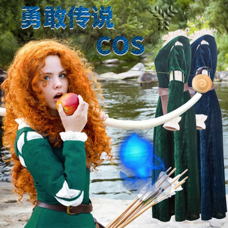 Brave Merida Dresses Princess Merida Cosplay Costume Lady Cartoon Anime Dress Uniform Merida Wig Fashion Girl Lolita Dress