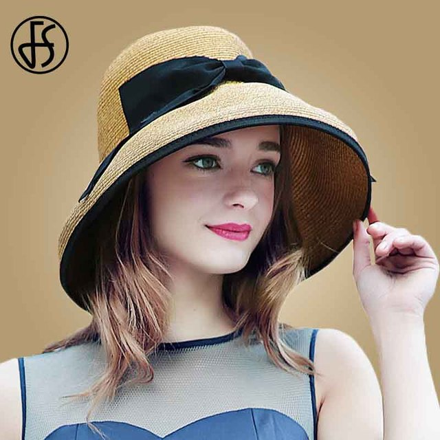 fb2da940 FS Fashion Straw Hats For Women Summer Beach Foldable Large Wide Brim  Floppy Hat Ladies Sun Visor Caps Bowknot Sombreros Mujer